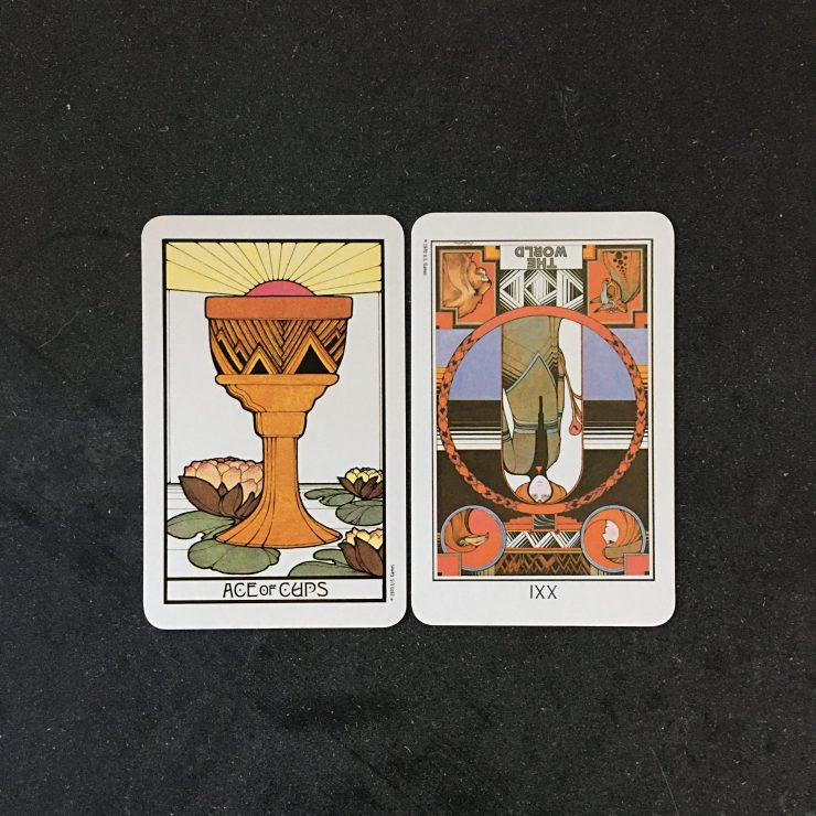 Ace of Cups / The World/21 reversed
