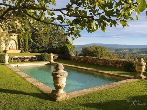 Antique limestone pool coping