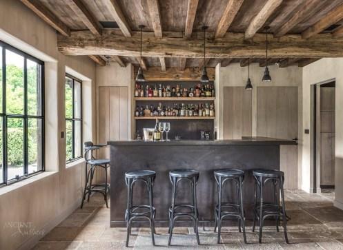 American Farmhouse Kitchen Limestone Flooring