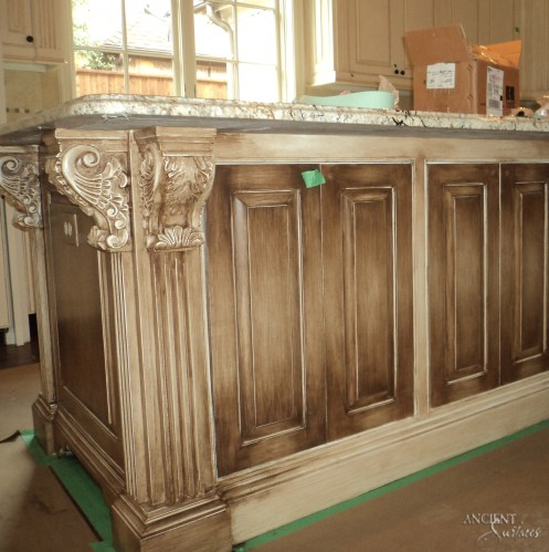 farmhouse-kitchen-island-weathered-rustic-legs-