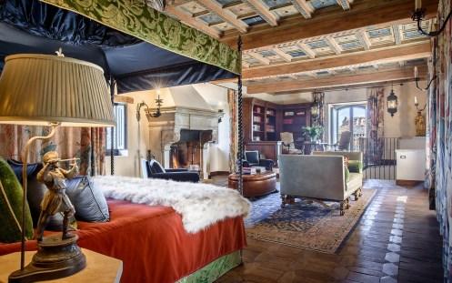 Castello di Procopio Bedroom with an Antique Limestone Fireplace