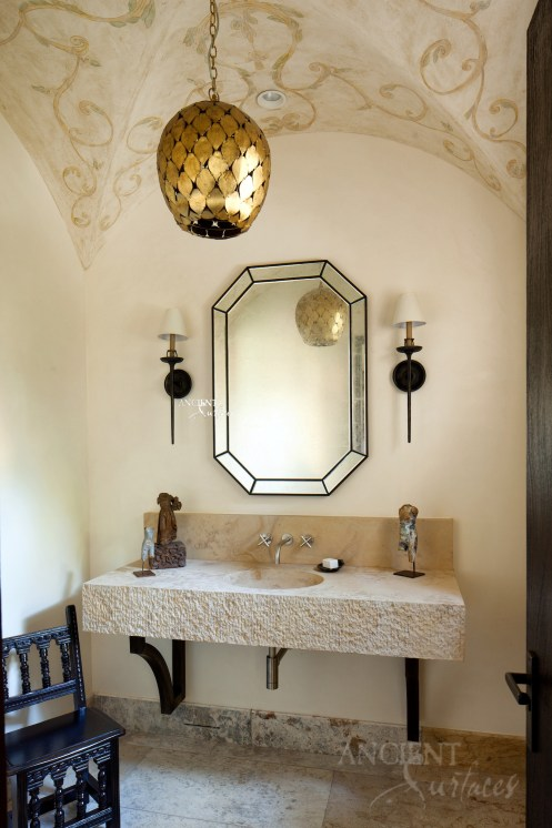 Spanish Hacienda Revival Style Powder Room Sink by Ancient Surfa