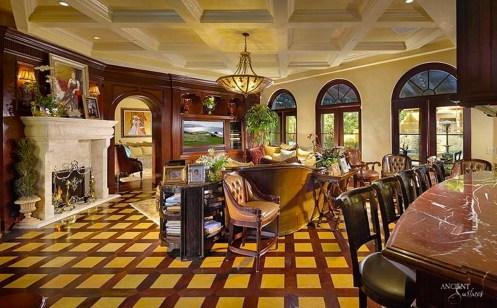kitchen-countertop-limestone-fireplace-living-room