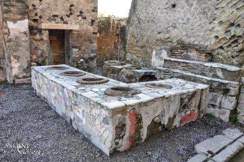 Outdoor Stone in Pompeii's Bars, Taverns & Baths limestonee stone old world