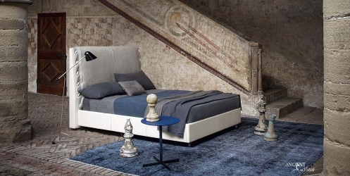 Double bed / combined / contemporary / upholstered