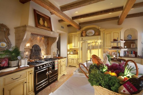Kitchen limestone over mantel stove