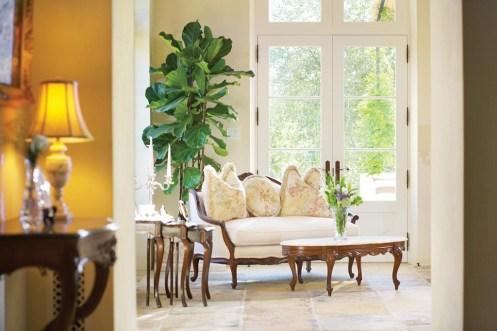 Living room design with limestone flooring