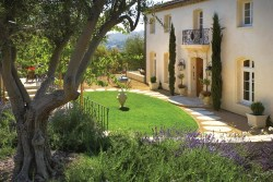 Outdoor villa design with limestone wall cladding