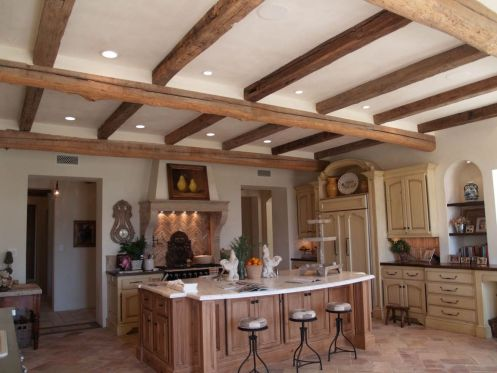 kitchen design with kitchen counter top and limestone stone floor