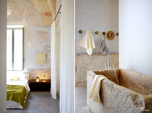 bedroom-design-farmhouse-antique-wall-cladding-pwder-room-limestone-sink-truffle-sink-design