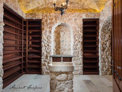 Wine-cellar-antique-limestone-wall-cladding-limestone-flooring-bibilical-stone-stone-sink