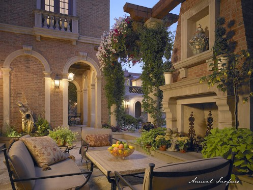 alfresco-dining-outdoor-area-with-limestone-fireplace-mantel-stone-stove-biblical-stone-flooring-and-limestone-table