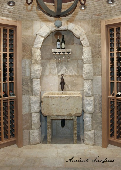french-farmhouse-ancient-surfaces-limestone-sink-stone-entryway-wine-cave