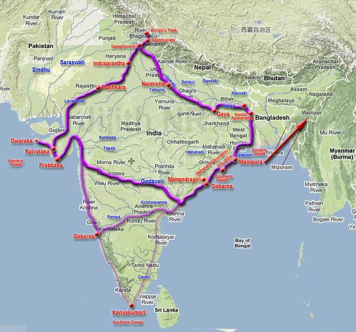Arjuna's journey from Manipura towards Southern Ocean, Gokarna, Prabhasa, Raivataka, Dwaraka, Pushkara and back to Indraprastha. Three possible routes are shown. Godavari route is more likely. Route through Krishna river reaching Gokarna of Karnataka as well as route through Kanyakumari are less likely. The arrow indicates that the Manipura tribe in Kalinga had migrated to Manipur state of India.jpg