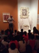 Ancona students at Chicago's National Museum of Mexican Art viewing the ofrenda to Gabriel Garcia Marquez