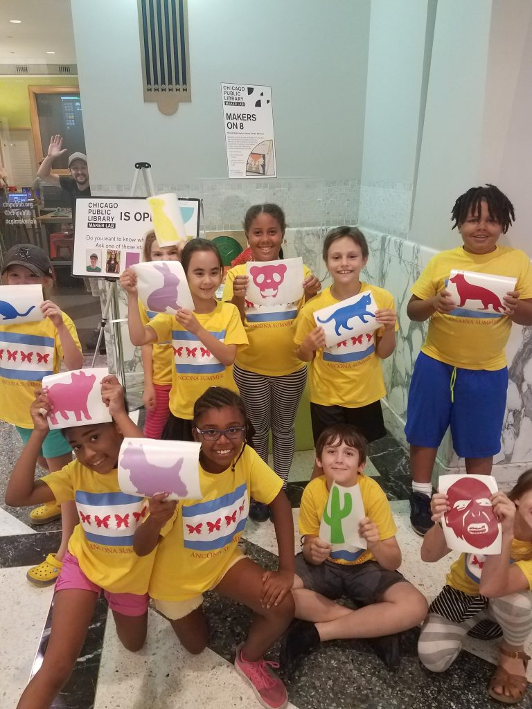 Ancona Summer students at the Chicago Public Library Maker Lab