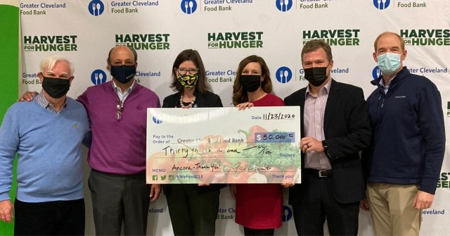 Pictured left to right: Rick Chiricosta (Medical Mutual), Fred DiSanto (Ancora), Kristin Warzocha (Greater Cleveland Food Bank), JoAnna Gyetko (Ancora), John Micklitsch (Ancora), Dan Hyland (Ancora)