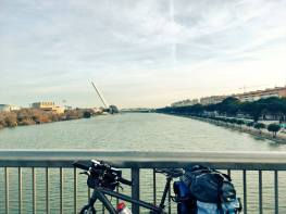 Alamillo bridge and Guadalquivir river in Seville