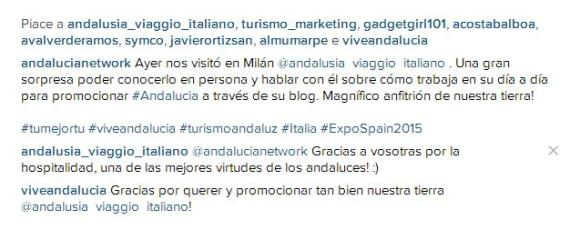 Un'immagine (da Instagram) che mi ritrae con parte del team di Vive Andalucía e Spagna in Italia.