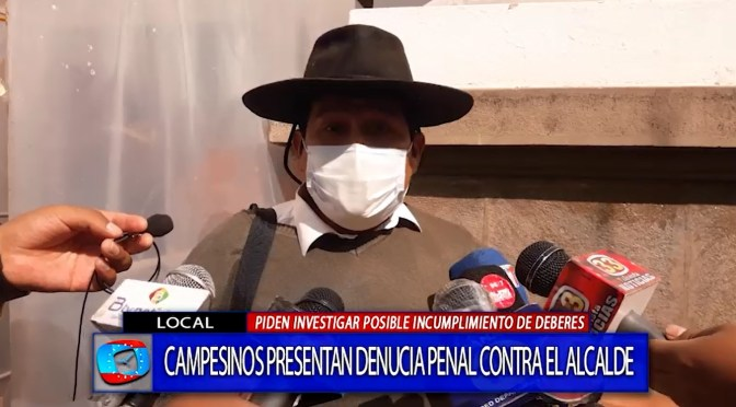 Dirigencia campesina de Cercado formalizan denuncia contra el alcalde Paz por el fondo indígena