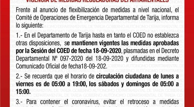 COED determina mantener medidas de restricción en Tarija