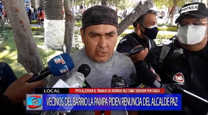 Vecinos del Barrio la Pampa piden la renuncia del alcalde Rodrigo Paz