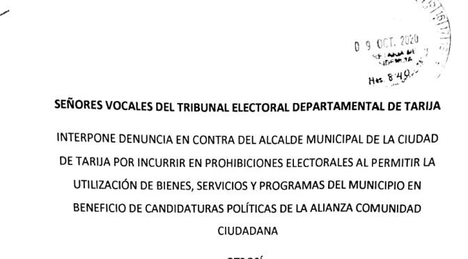 Presentan denuncia contra Rodrigo Paz por uso de bienes del Estado en campaña electoral