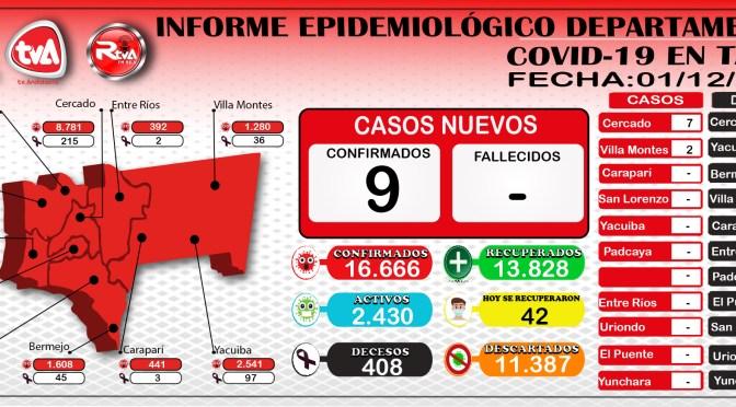 Tarija empezó  diciembre con 9 casos positivos de covid-19 y 42 se recuperaron