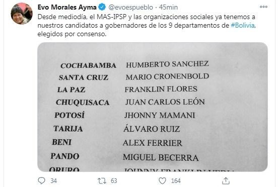 Evo Morales confirma que Álvaro Ruiz es el candidato oficial del MAS a la Gobernación de Tarija