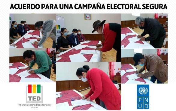 TED Tarija y organizaciones políticas suscriben acuerdo para una Campaña Segura