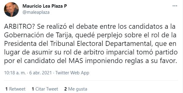 Lea Plaza justifica actitud de Oscar Montes en debate a la gobernación