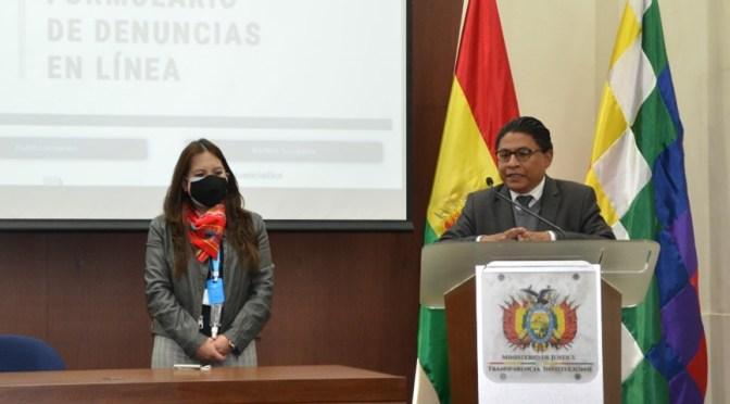 Transparencia: Ministro de Justicia presenta formulario electrónico para denunciar corrupción