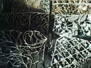 iron patterns used to imprint the fabric