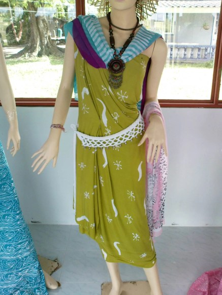 Dress made from the printed material