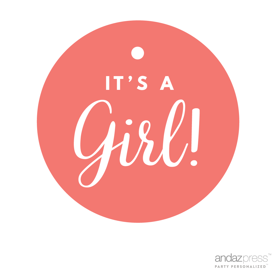 Andaz Press Round Circle Girl Baby Shower Gift Tags And Label Stickers, It's A Girl!, Pink