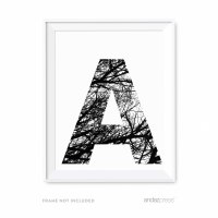 Andaz Press Monogram Wall Art Print Poster, Black and ...