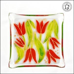 Skleněný svícen - Tulipány oranžové (svícínek, sklo)