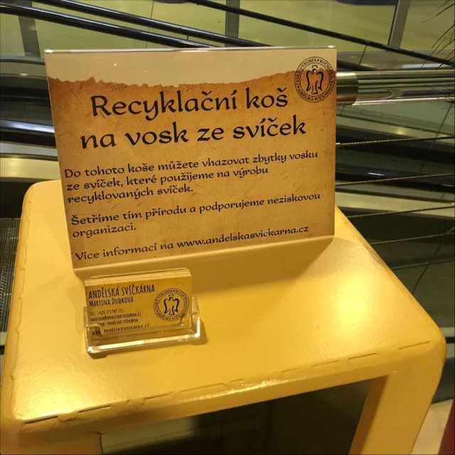 Recyklační koš na zbytky ze svíček, jak třídit odpad, jak třídit, třídění odpadu, parafín, vosk, Andělská svíčkárna, Recycling bin, how to sort waste 1