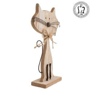 Dřevěná kočka natur - dekorace, Andělská svíčkárna, dekorace Praha, Wooden cat natur, decoration, Prague, Angels candles 02