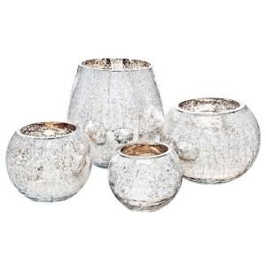 Skleněný svícen praskaný, stříbrno-zlatý, Andělská svíčkárna, Glass candle holder cracked, silver-gold, Angels candles