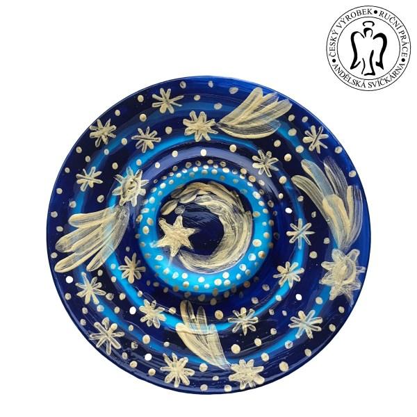 Svícen, hvězdné nebe, skleněný svícen, svícínek, taliřek na svíčku, svíčkárna, candleholder, Starry sky, candle saucer, Angels candles 01