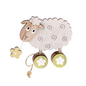Velikonoční dekorace, velikonoční výzdoba, dřevěná ovečka, ovečka na kolečkách, Easter decoration, wooden sheep, sheep on wheels,
