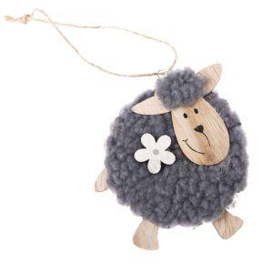 Velikonoční dekorace - Dřevěná závěsná ovečka - černá