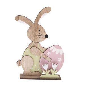Velikonoční dekorace - Dřevěný zajíc s vajíčkem - velký
