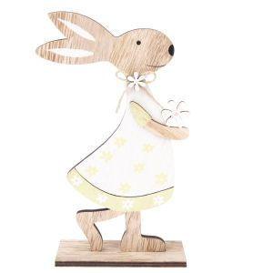 Dřevěný zajíc s kytičkou