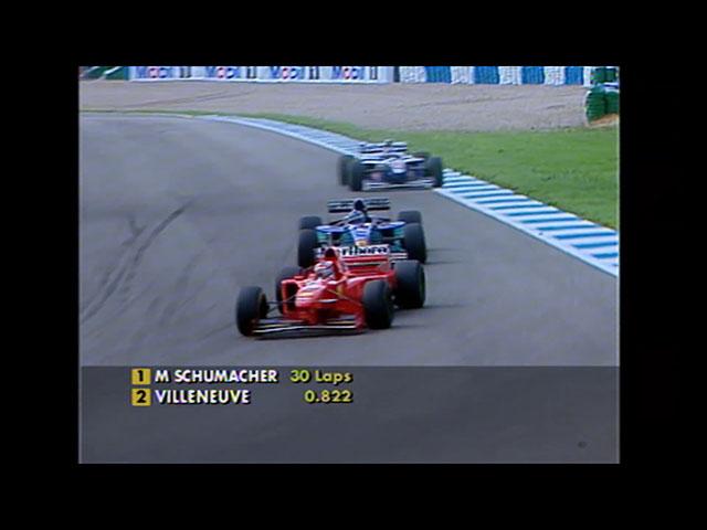 Michael Schumacher has just overtaken Norberto Fontana in Formula 1 1997 European Grand Prix. F1Rewind, Formula 1, F1, 1997年一級方程式歐洲站, 韋侖洛夫, 米高舒麥加
