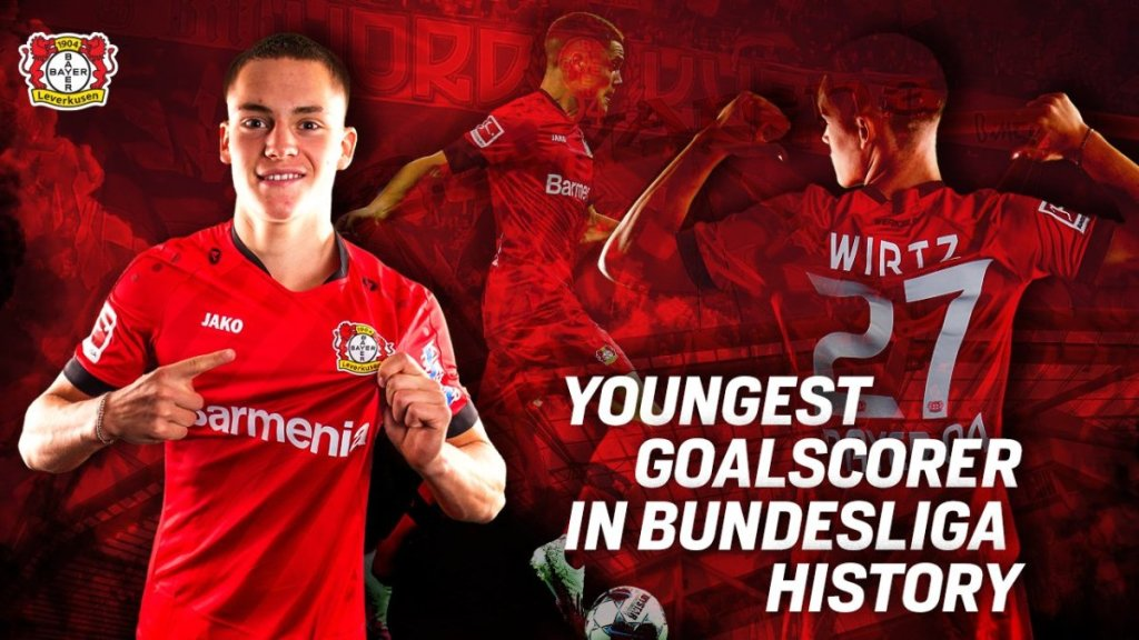 Florian Wirtz is now the youngest goalscorer in Bundesliga history. Bayer Leverkusen, 域斯, 利華古遜