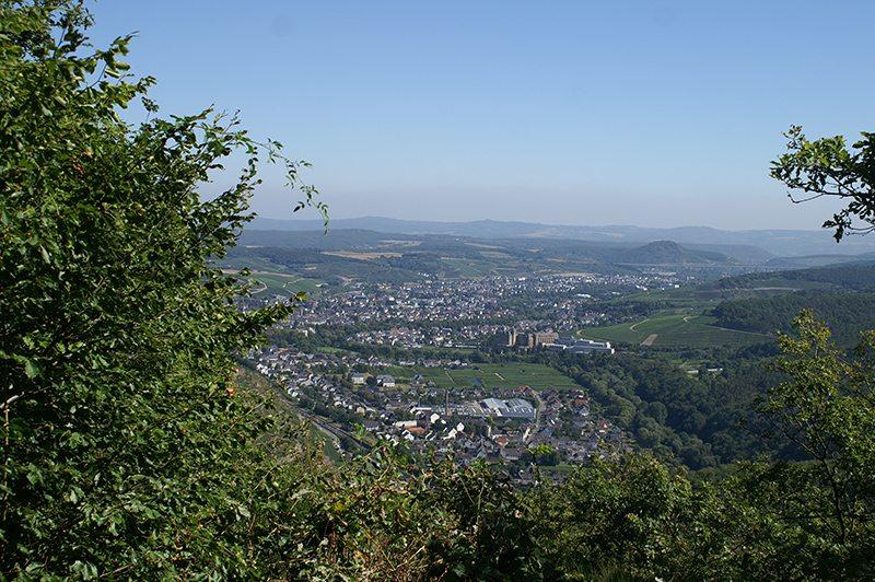Im Vordergrund grüne Büsche, dazwischen der Blick über das Ahrtal und über die Doppelstadt Bad Neuenahr-Ahrweiler