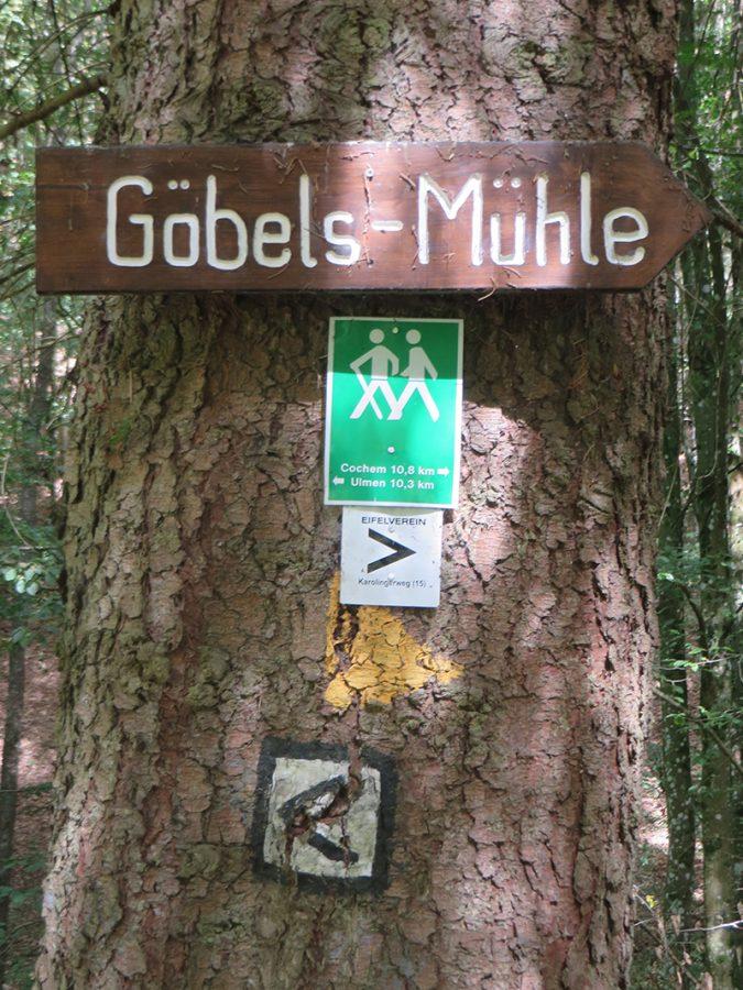 Ein mächtiger Baumstamm mit mehreren Wegmarkierungen: Schon beim Abstieg von der Straße zum Bach weist das erste Schild auf Göbels Mühle hin. Es wied nicht das letzte Mal sein