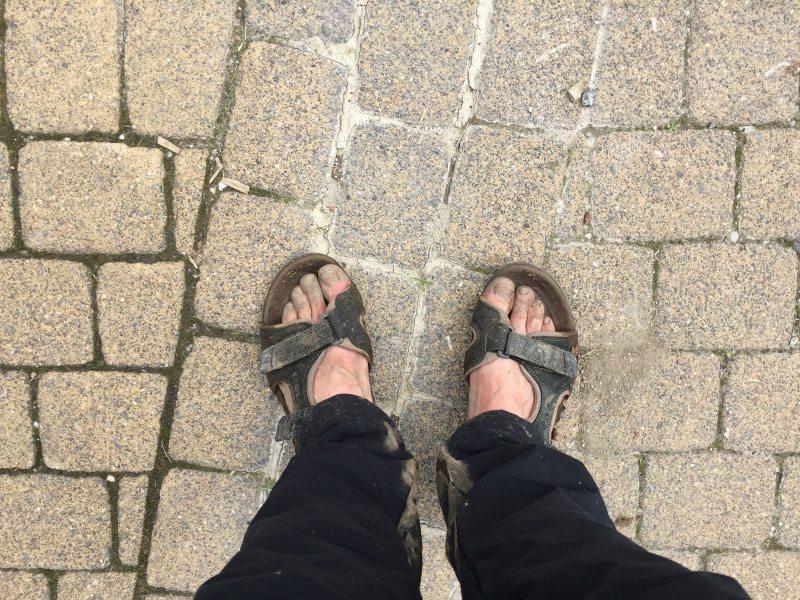 Füße, schmutzig, Wandermarathon, Sandalen